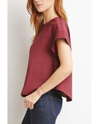 Forever 21 - Purple Contemporary Boxy Side-buttoned Top - Lyst