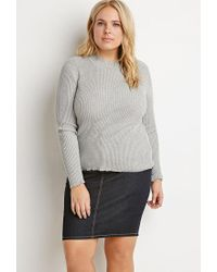 Forever 21 | Gray Plus Size Ribbed Mock Neck Sweater | Lyst