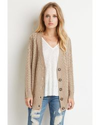 Forever 21 - Brown Buttoned Cable Knit Cardigan - Lyst