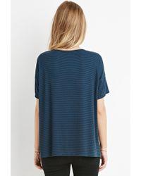 Forever 21 - Blue Stripe Oversized Tee - Lyst