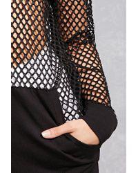 Forever 21 Black Hooded Open-mesh Top