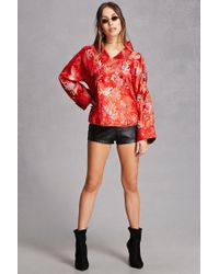Forever 21 Red Repurposed Floral Jacket