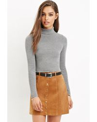 Forever 21 | Orange Button-front Corduroy Skirt | Lyst