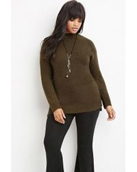 Forever 21 Green Plus Size Longline Fuzzy Sweater