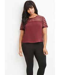 Forever 21 | Purple Plus Size Shadow-stripe Paneled Top | Lyst