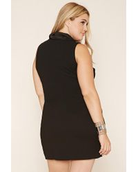 Forever 21 | Black Fold-over Turtleneck Shift Dress | Lyst