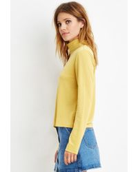 Forever 21 - Yellow Buttoned-turtleneck Top - Lyst