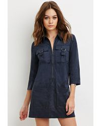 Forever 21 | Blue Faux Suede Collared Shift Dress | Lyst