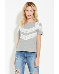 Forever 21 | Gray Lace-paneled Top | Lyst