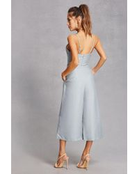 Forever 21 - Blue Cropped Cutout Jumpsuit - Lyst
