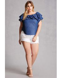 Forever 21 - Blue Plus Size Chambray Flounce Top - Lyst