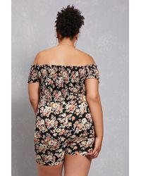 Forever 21 Black Plus Size Smocked Floral Romper