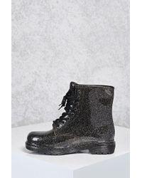 Forever 21 Black Glitter Rain Boots