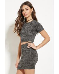 Forever 21 | Gray Marled Crop Top | Lyst