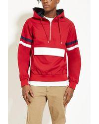 Forever 21 | Red Hooded Varsity-stripe Anorak | Lyst