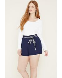 Forever 21 | Blue Plus Size Belted Shorts | Lyst