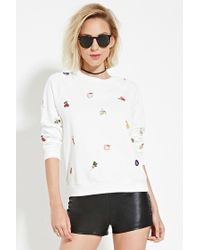 Forever 21 | White Patch Pullover | Lyst