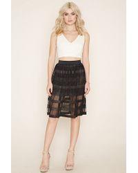 Forever 21 | Black Pleated Shadow Stripe Skirt | Lyst