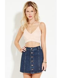 Forever 21 | Natural Faux Suede Cropped Cami | Lyst