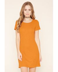 Forever 21 - Orange Ribbed Bodycon Mini Dress - Lyst