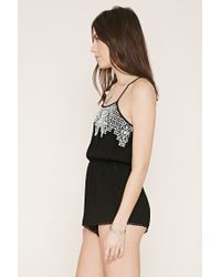 Forever 21 - Black Crochet-paneled Cami Playsuit - Lyst