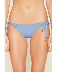 Forever 21 - Blue Strappy-side Bikini Bottoms - Lyst