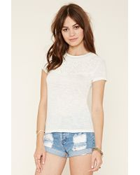 Forever 21 | Natural Embroidered Slub Knit Top | Lyst