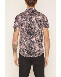 Forever 21 Multicolor Palm Leaf Print Shirt for men