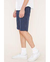 Forever 21 - White Grid Print Shorts for Men - Lyst