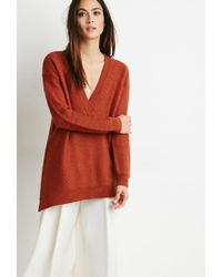 Forever 21 | Brown Contemporary Oversized V-neck Sweater | Lyst