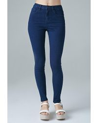 Forever 21 | Blue High-waisted Skinny Jeans | Lyst