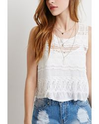 Forever 21 | Natural Crocheted-front Top | Lyst