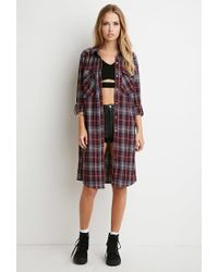 Forever 21 | Purple Tartan Plaid Midi Dress | Lyst