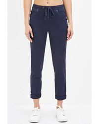 Forever 21 - Blue Cuffed Drawstring Pants - Lyst