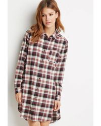 Forever 21 Purple Contemporary High-slit Plaid Flannel Tunic