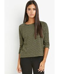 Forever 21 - Green Contemporary Striped Button-vent Top - Lyst
