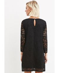 Forever 21 | Black Floral Lace Shift Dress | Lyst