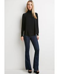 Forever 21 Black Contemporary Oversized Turtleneck Top