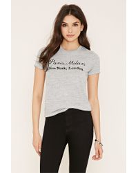 Forever 21 - Gray Marled Cities Graphic Tee - Lyst