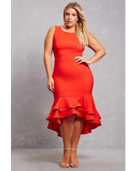 Forever 21 Red Plus Size Ruffle Maxi Dress