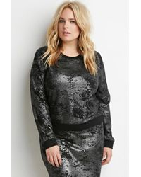 Forever 21 | Black Plus Size Abstract-patterned Metallic Knit Top | Lyst