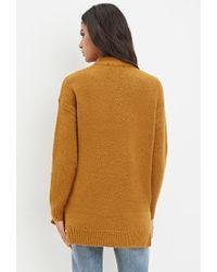 Forever 21 - Orange Longline Wool-blend Sweater - Lyst