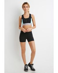 Forever 21 | Black Active Colorblock Yoga Shorts | Lyst