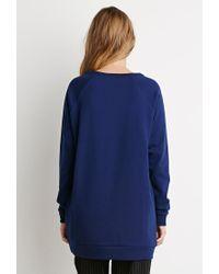 Forever 21 - Blue Longline Raglan Sweatshirt - Lyst