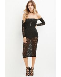 Forever 21 | Black Ornate Lace Off-the-shoulder Dress | Lyst