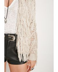 Forever 21 Natural Fringed Open-knit Cardigan