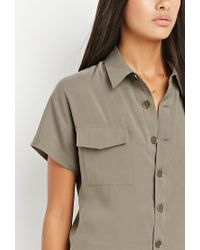 Forever 21 - Green Contemporary Buttoned Utility Jumpsuit - Lyst