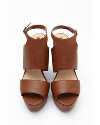 Forever 21 - Brown Faux Leather Platform Wedges - Lyst