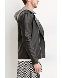 Forever 21 - Black Hooded Faux Leather Moto Jacket for Men - Lyst