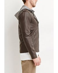 Forever 21 - Brown Hooded Faux Leather Moto Jacket for Men - Lyst